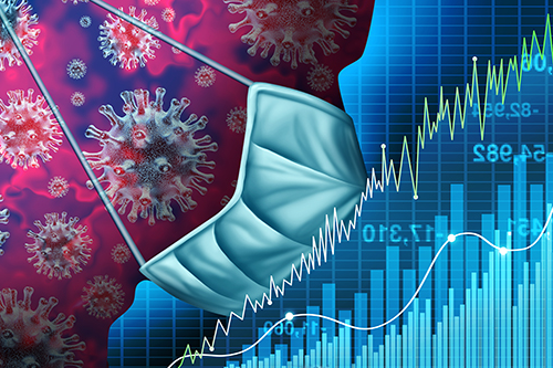 silouhette of an infected coronavirus patient with face mask imposed over stock market charts