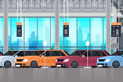 Cartoon of cars lined up in a showroom garage